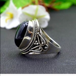 SILVER BLACK ONYX FACETED RING 7 1/2